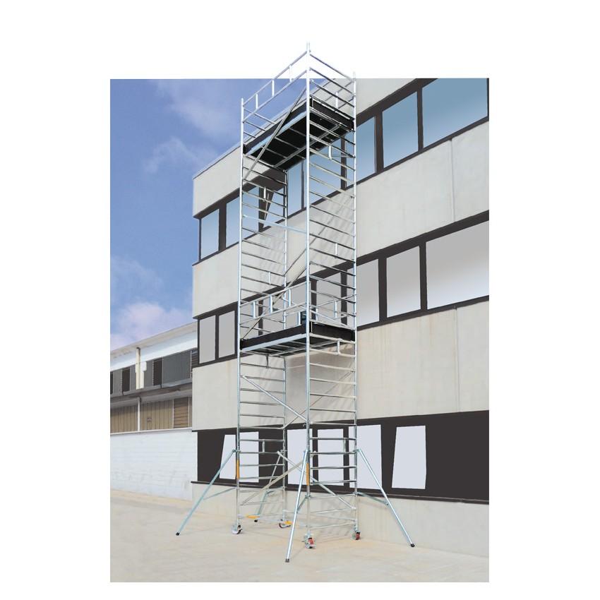 Trabattello in alluminio STP Luxor da altezza di lavoro 12,80 mt