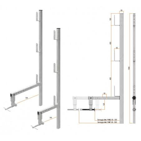 Parapetto per cordolo registrabile 80-500 mm